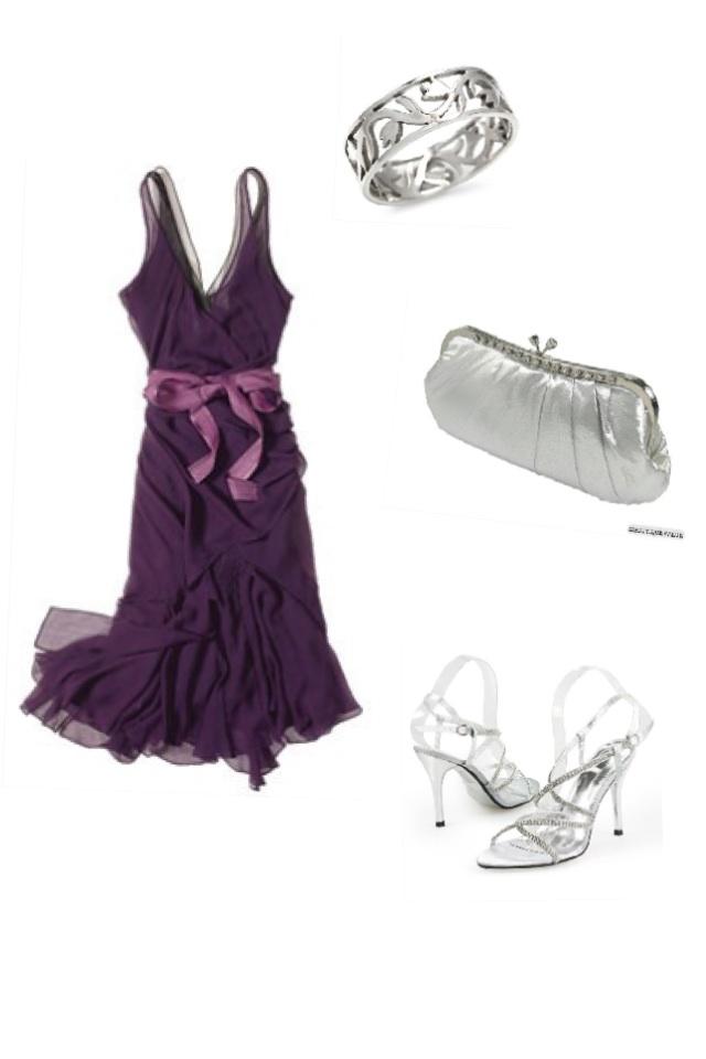Random outfit #Purple #Silver #Cute #Simple